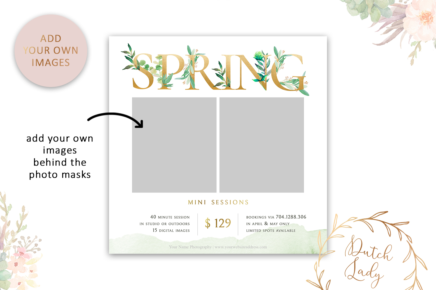 PSD Photo Spring Mini Session Card Template - Design #40 example image 2