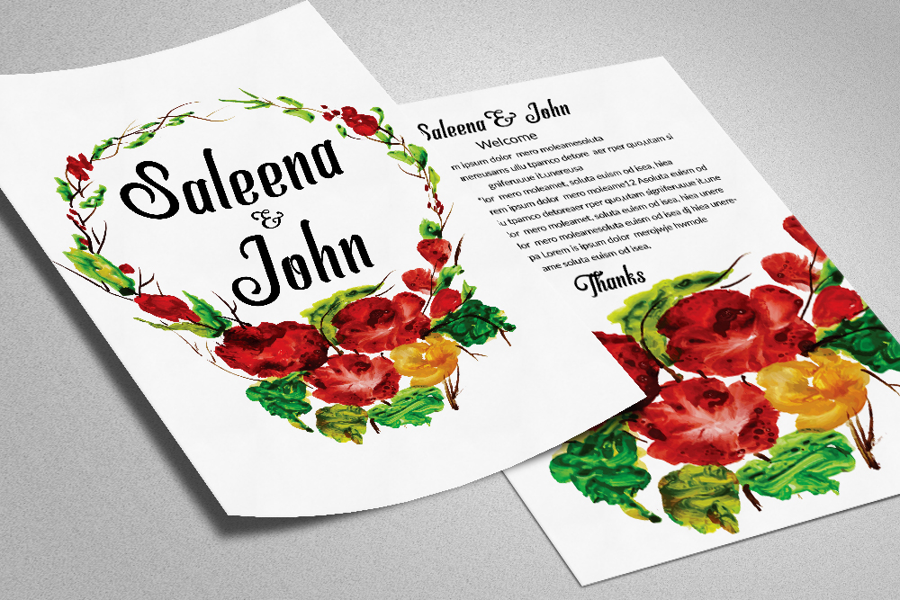 Double Sided Floral Save The Date Card example image 1
