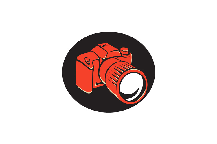 DSLR digital camera front retro example image 1
