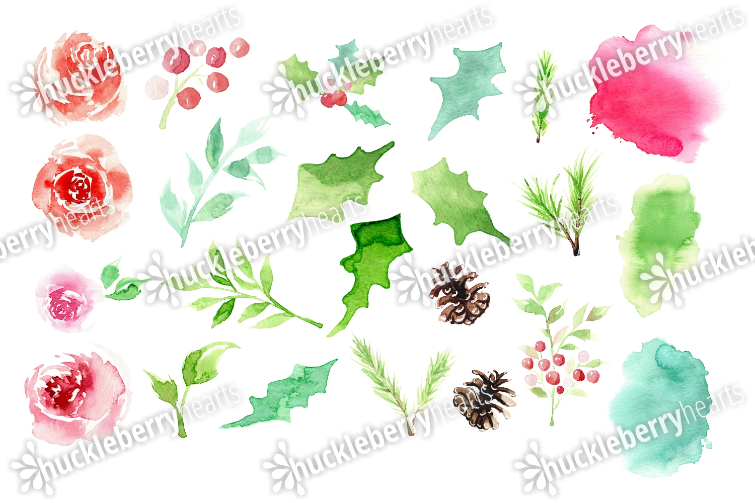 Christmas Watercolor Clipart example image 2