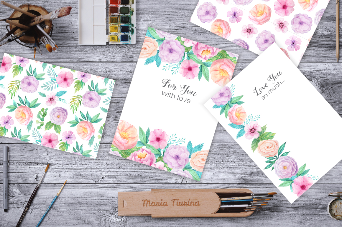 Summer Watercolor Floral BUNDLE example image 21