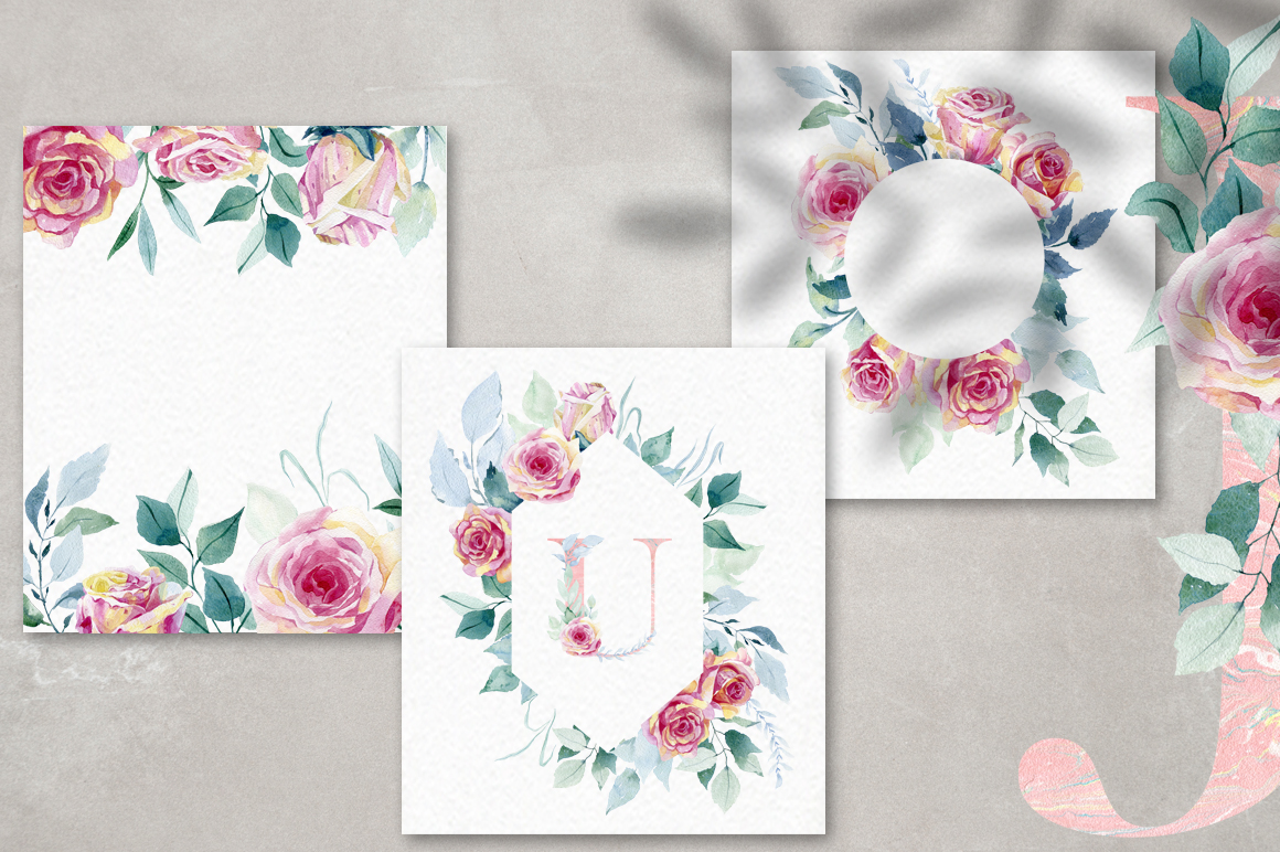 Watercolor roses. Alphabet. example image 9