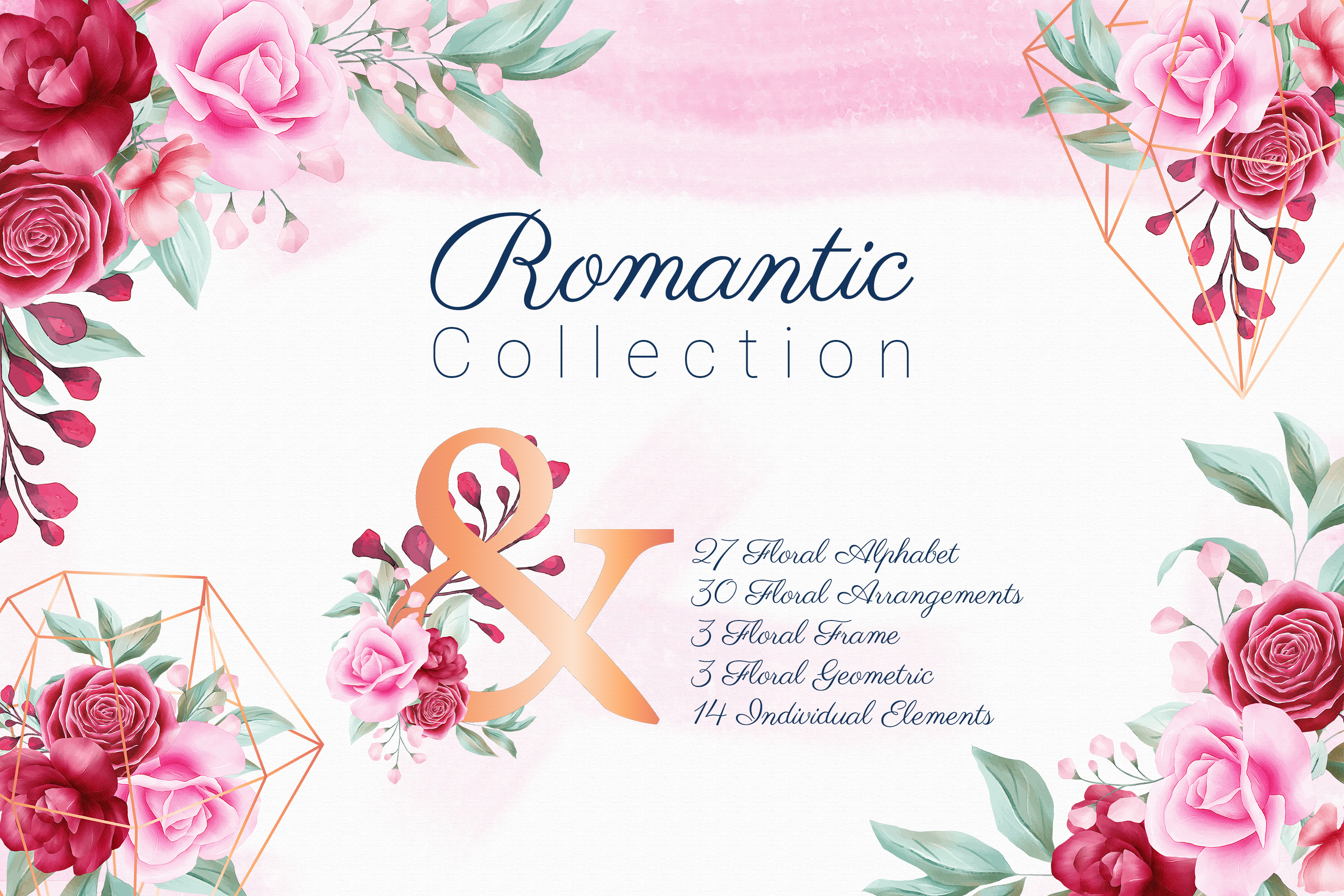 Romantic Watercolor Flowers Collection Bundle example image 1