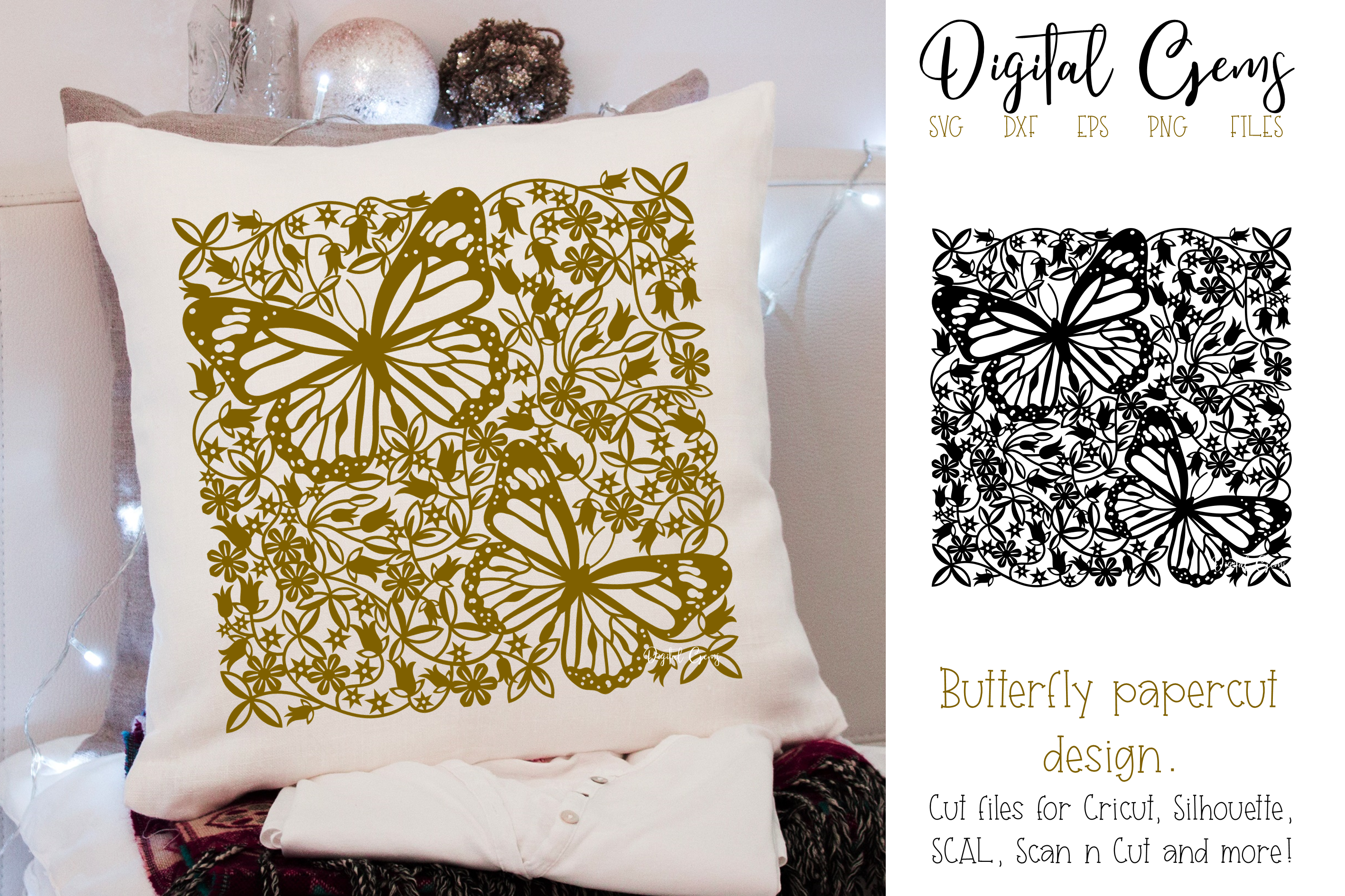 Butterfly paper cut design SVG / DXF / EPS / PNG files example image 1