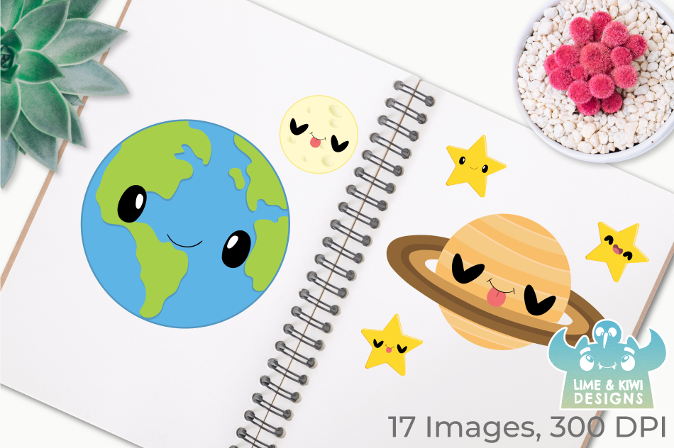 Solar System Planets 1 Clipart, Instant Download Vector Art example image 3