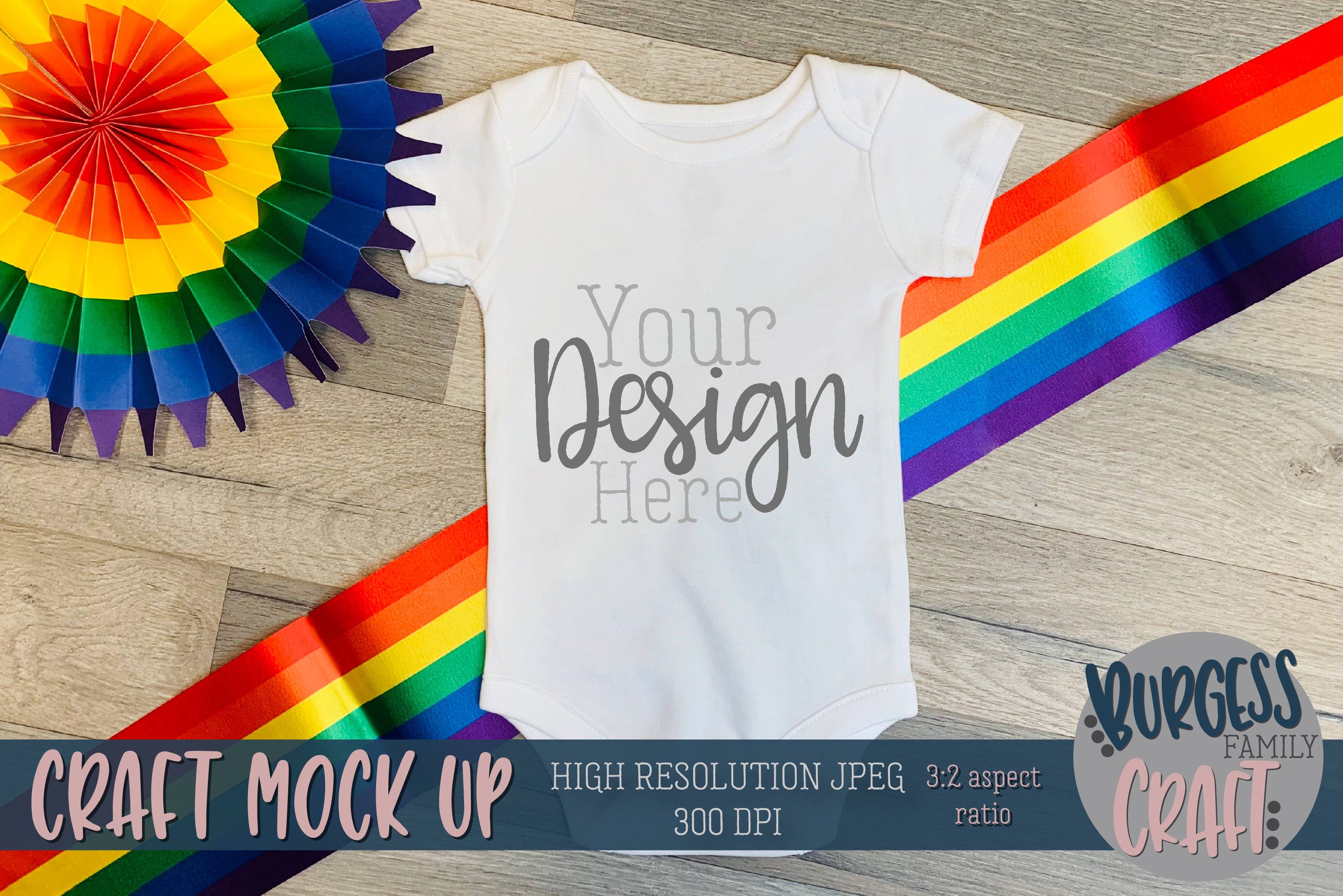 Rainbow baby bodysuit Craft mock up | High Res JPG example image 1