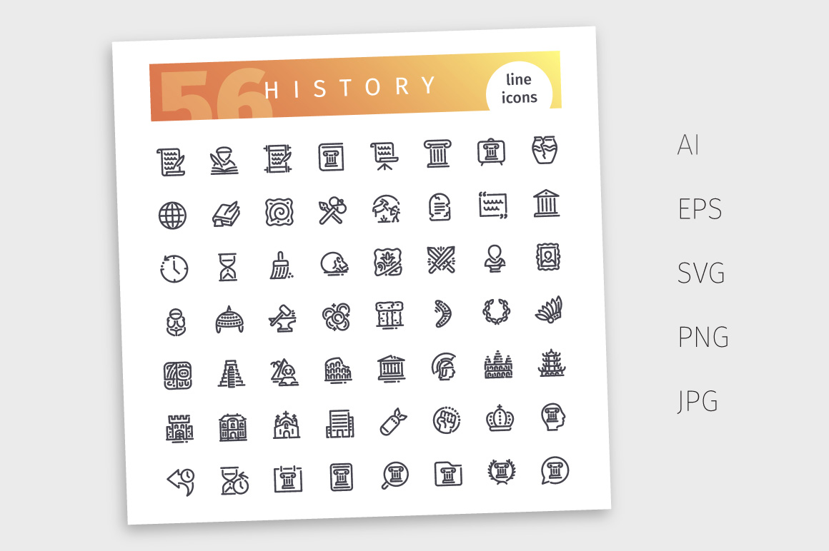 History Line Icons Set example image 4