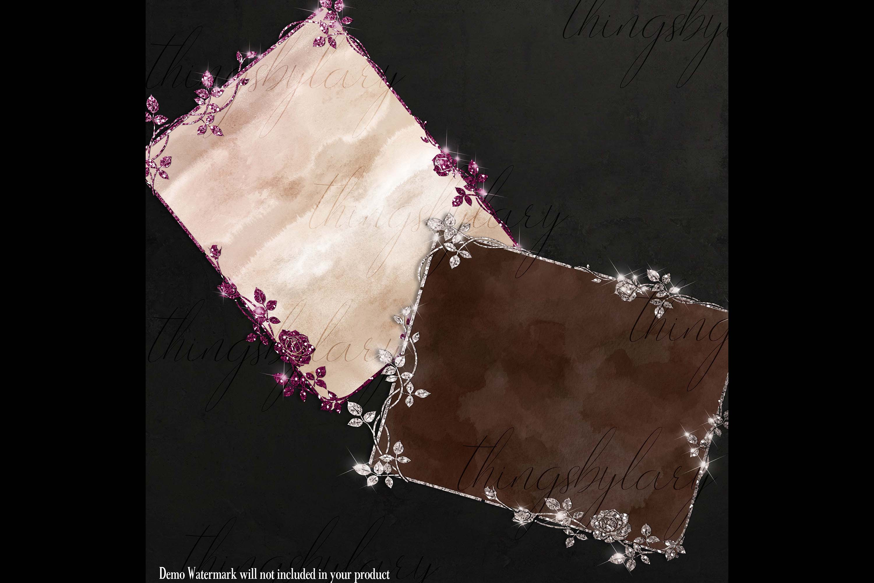 18 Glitter and Watercolor Leaf Branch Floral Frame Card example image 6