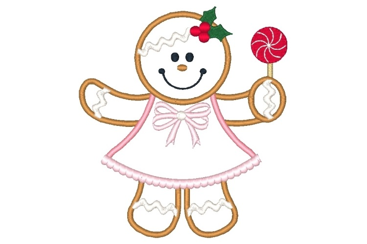 Ginger Girl Embroidery Design Set of 2 Christmas Designs example image 2
