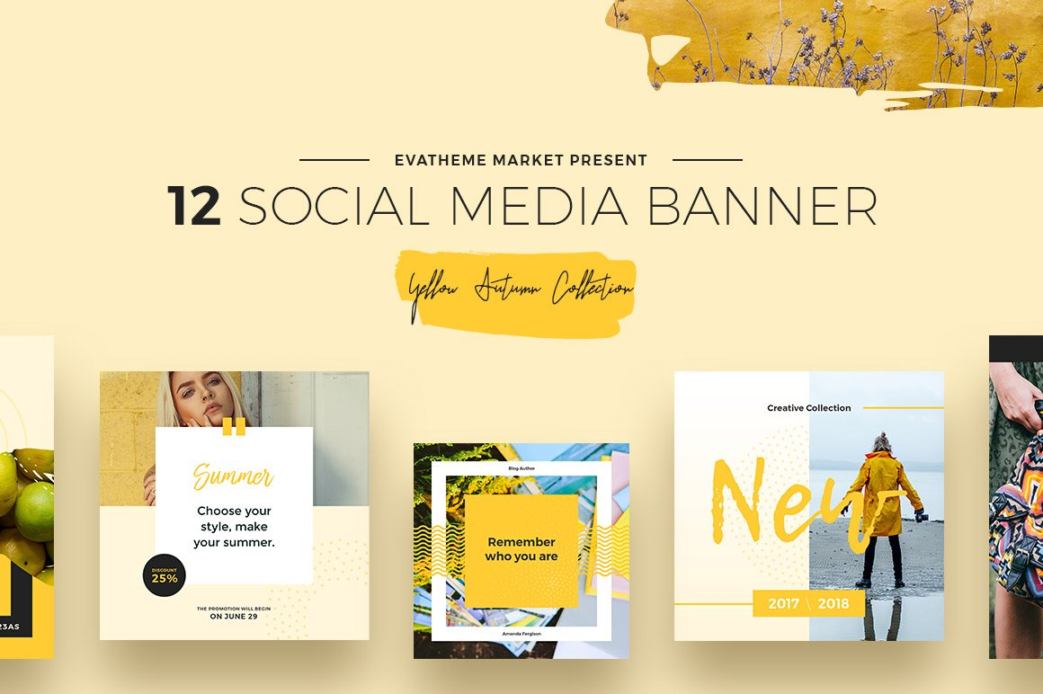 Yellow Autumn Social Media Designs example image 1
