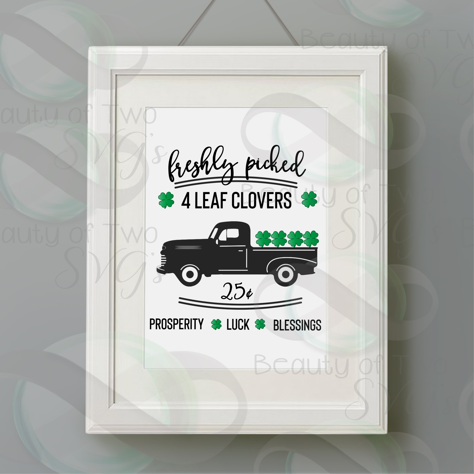 St Patrick's Day Freshly picked clovers vintage truck svg example image 2