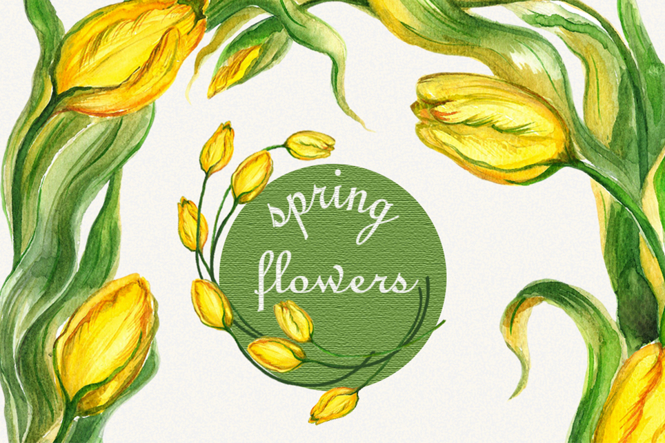 Tulip clipart, flower frame clipart, Watercolor floral example image 1