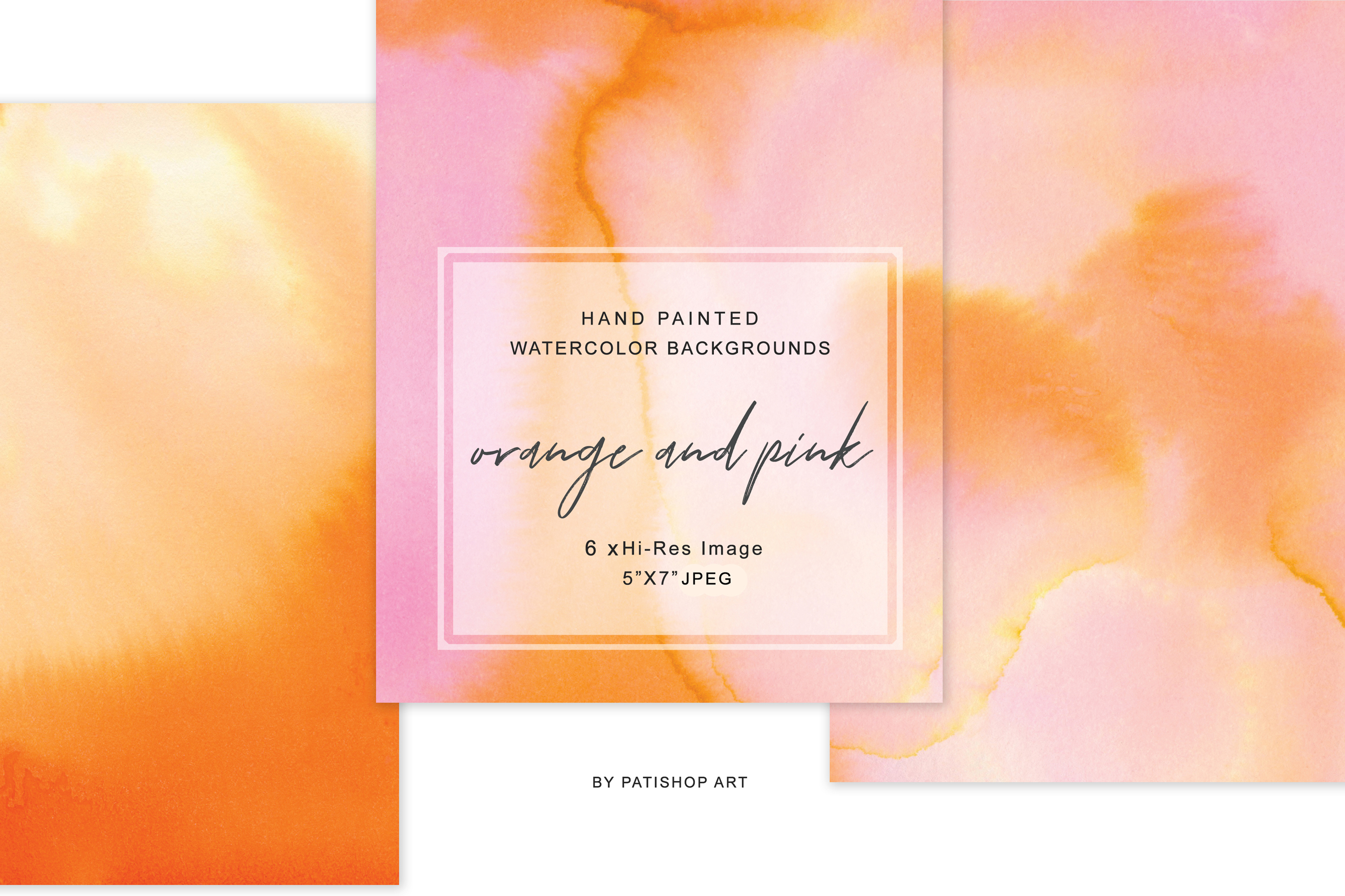 Hand Painted Watercolor Background Orange & Pink 5x7 example image 5