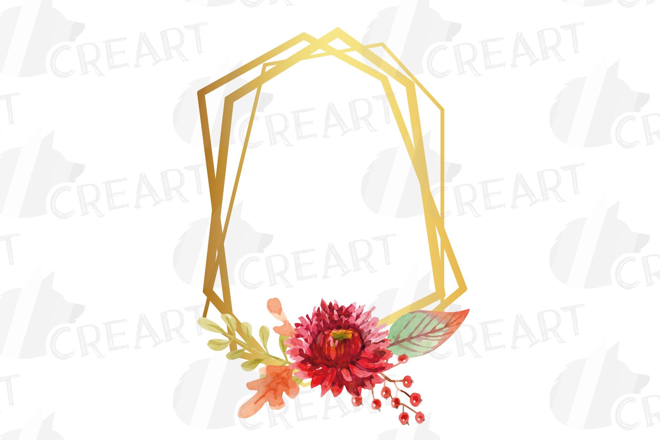 Watercolor elegant autumn geometric golden frame templates. example image 9