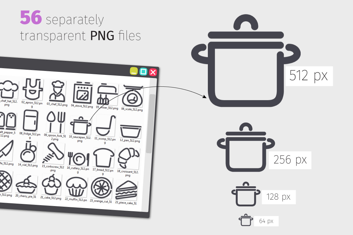 Cooking Line Icons Set example image 3