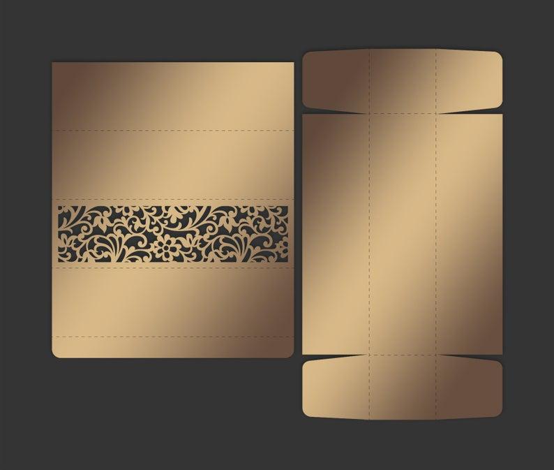 Laser Cut Scroll Wedding Invitation Box, DXF, SVG Cricut example image 2