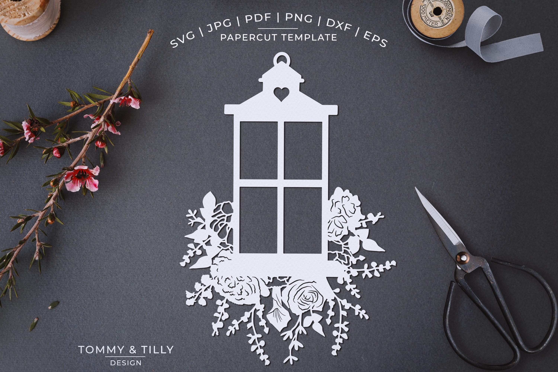 Romantic Floral Lantern- Papercut Template SVG JPG PNG example image 1