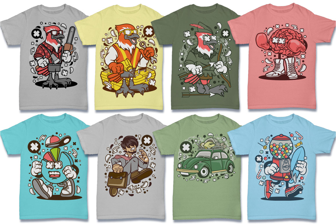 Cartoon Vector #6 Tshirt Design Bundle example image 5