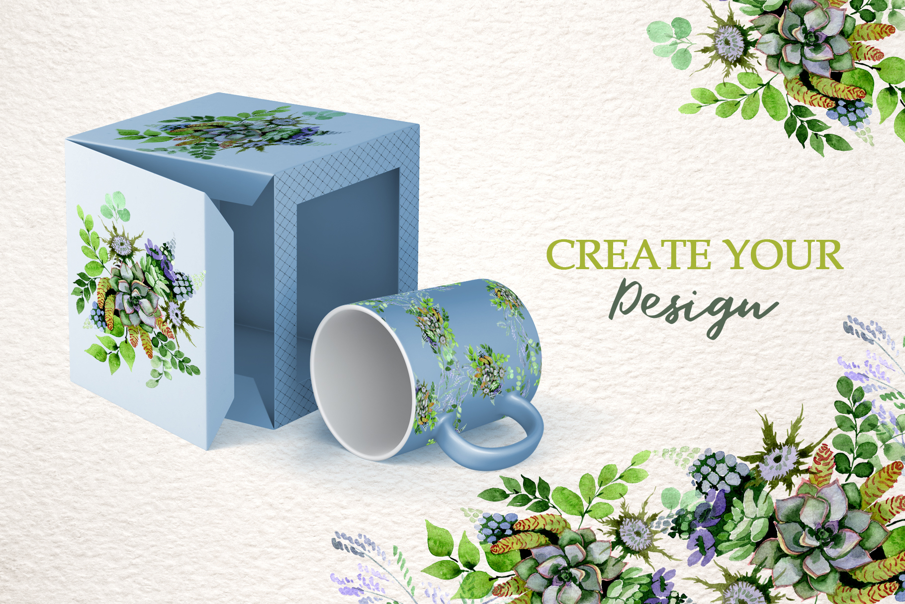 Bouquet with succulents Watercolor png example image 6