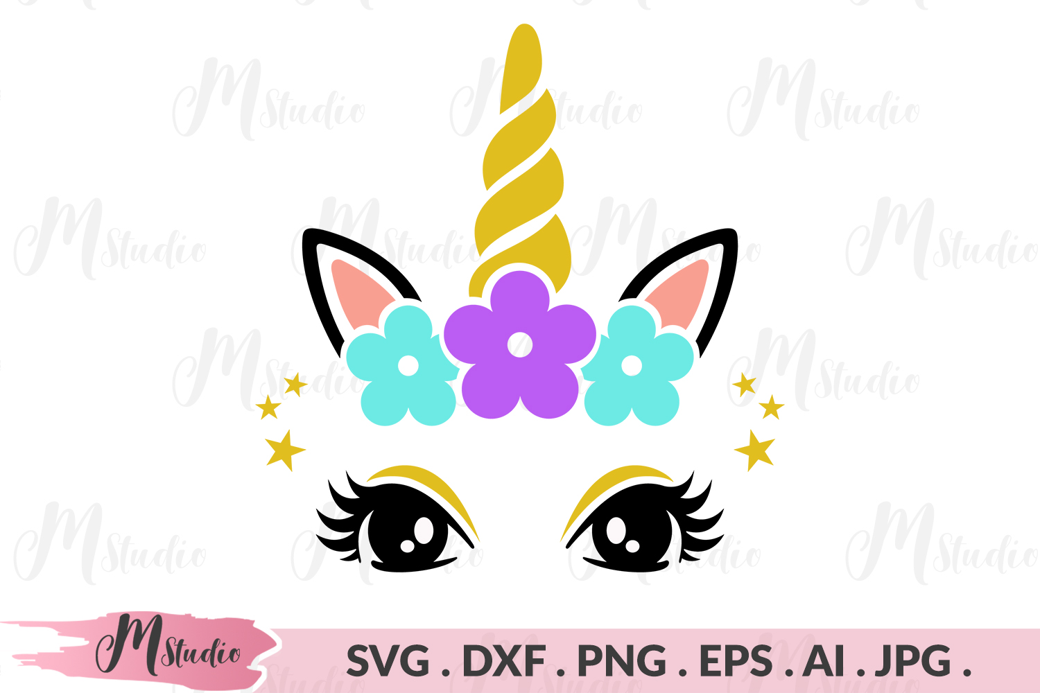 Unicorn face floral svg example image 1