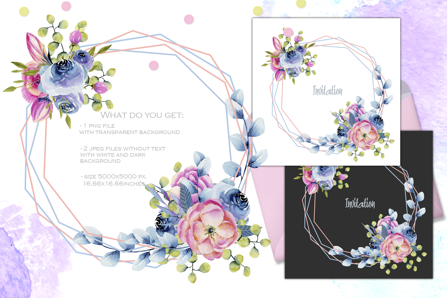 Wyoming flowers. Watercolor clipart. example image 9