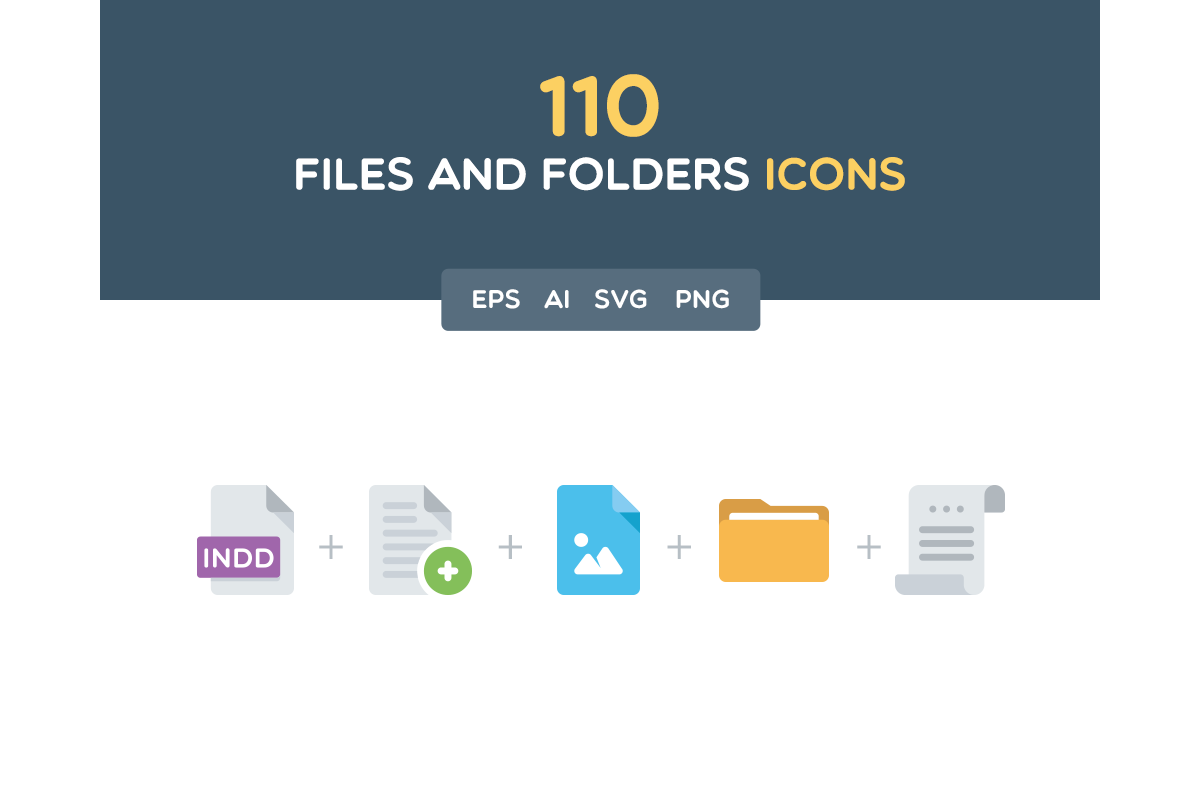 110 Files and Folders Icons example image 1