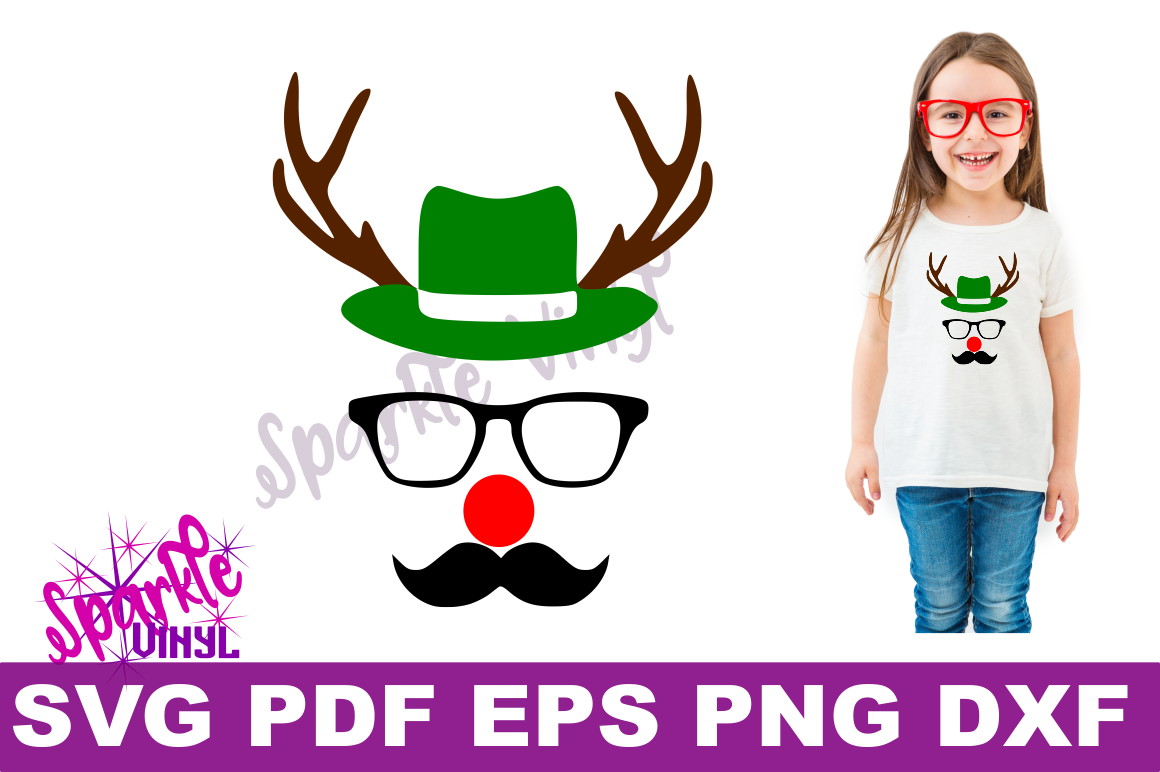 Svg Christmas Reindeer face ladies shirt tshirt outfit with hat glasses mustache red nose antlers svg files for cricut silhouette printable example image 1