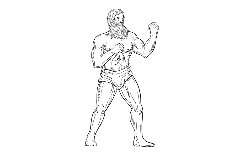 Bearded Boxer Fighting Stance Drawing Black and White example image 1