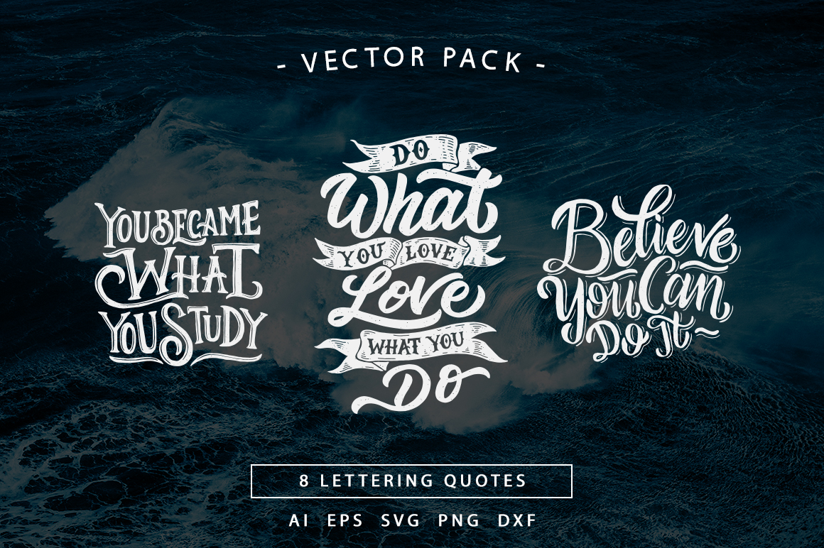 SVG Bundle - Hand Lettering Motivational Quotes Vol 2 example image 2