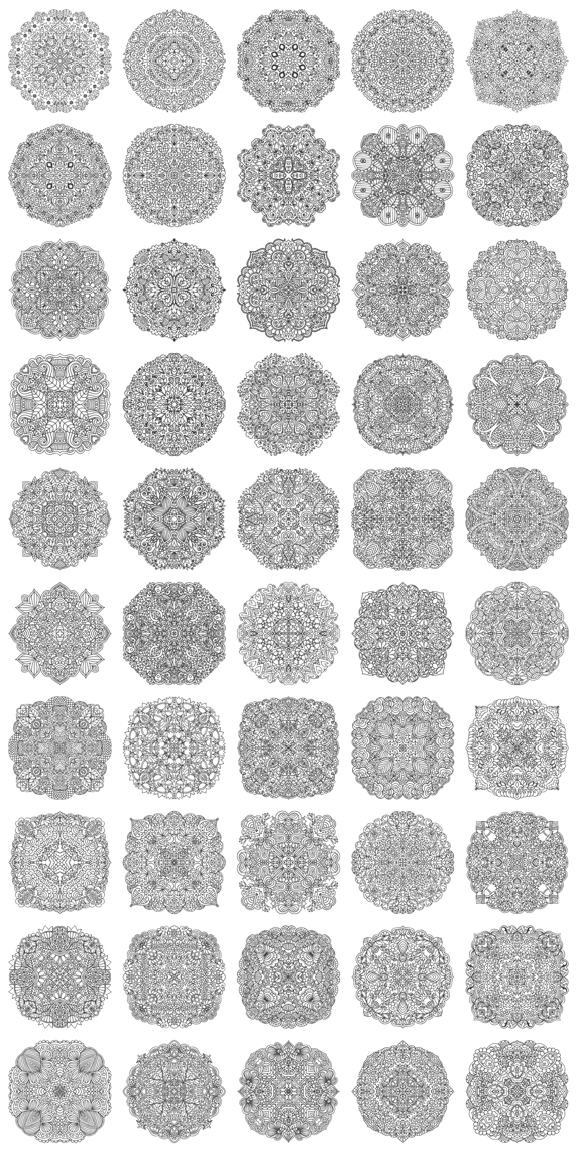 100 Vector Mandalas Round Ornaments example image 2
