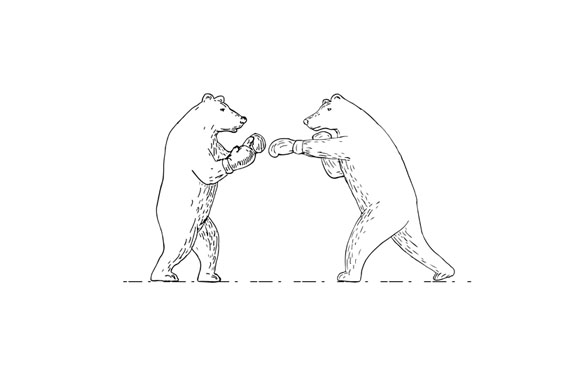 Two Grizzly Bear Boxers Boxing Drawing example image 1