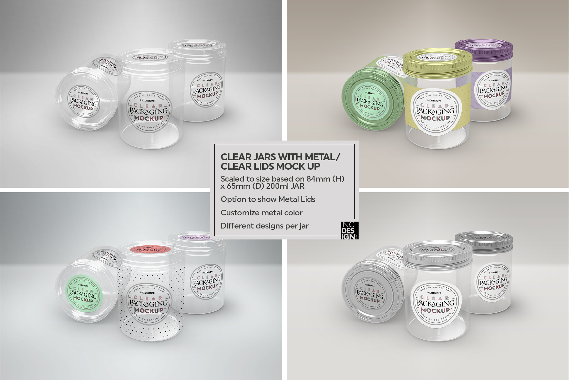 Clear Jars with Metal /Clear Lids Mockup example image 7