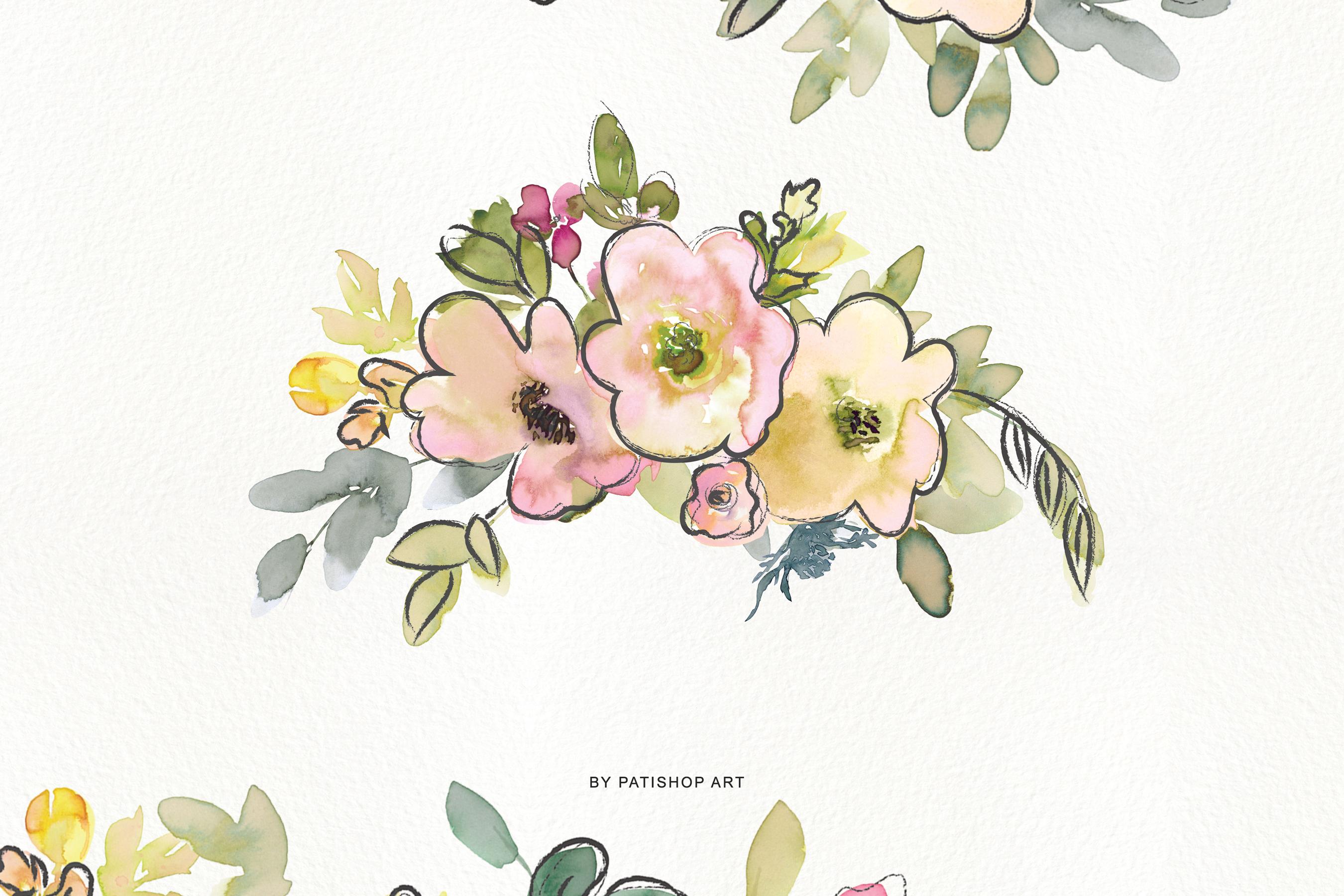 Watercolor Blush and Lemon Colors Floral Arrangements example image 3