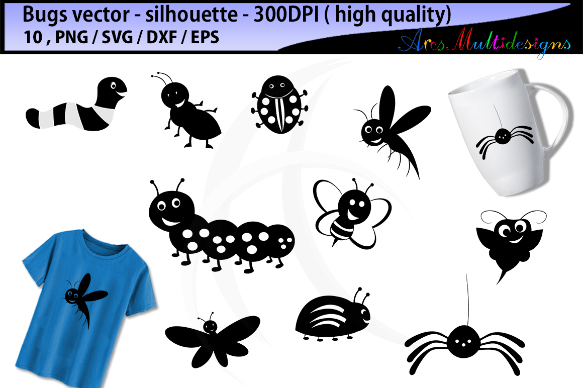 bugs SVG silhouette / bugs / insects / insect clipart / cartoon bugs Baby Shower Bugs Clip art / cute bugs / digital clip art example image 1