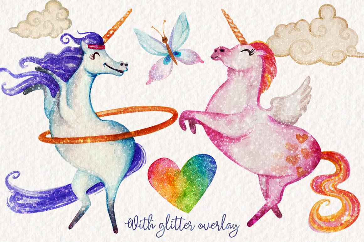 Watercolor Unicorns Graphics example image 4