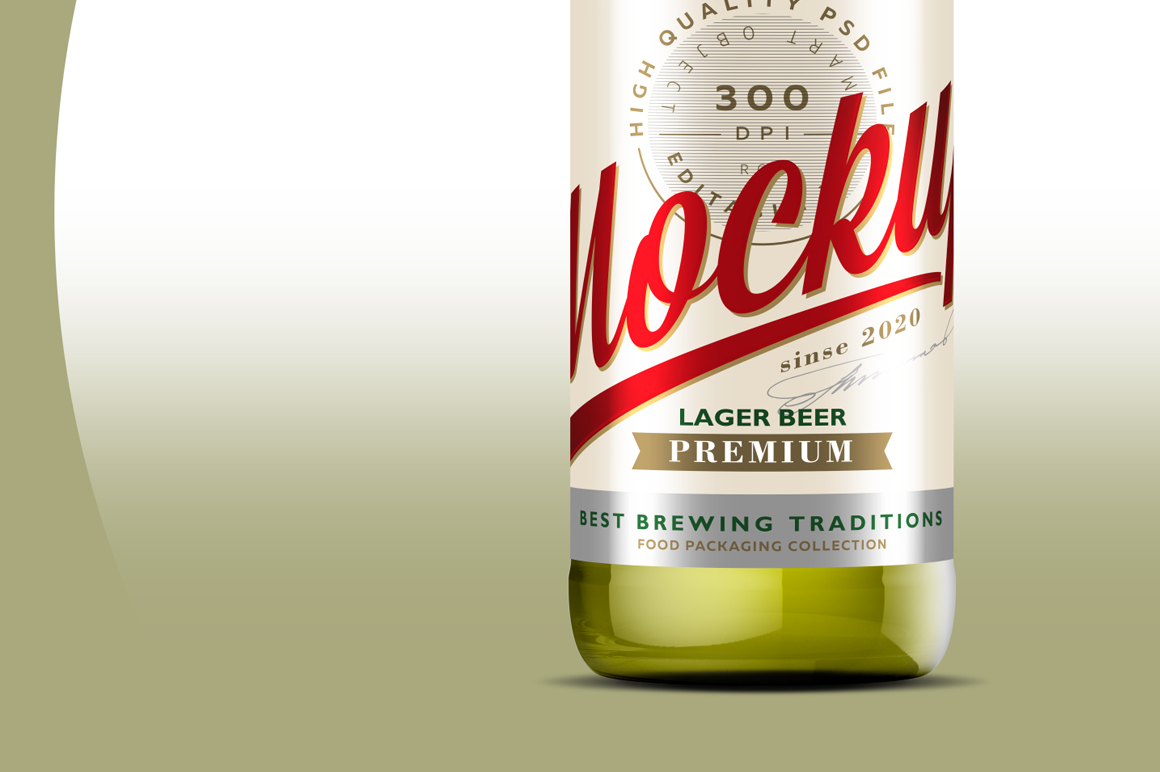 Clear Glass Lager Beer Bottle Mockup 500ml example image 4