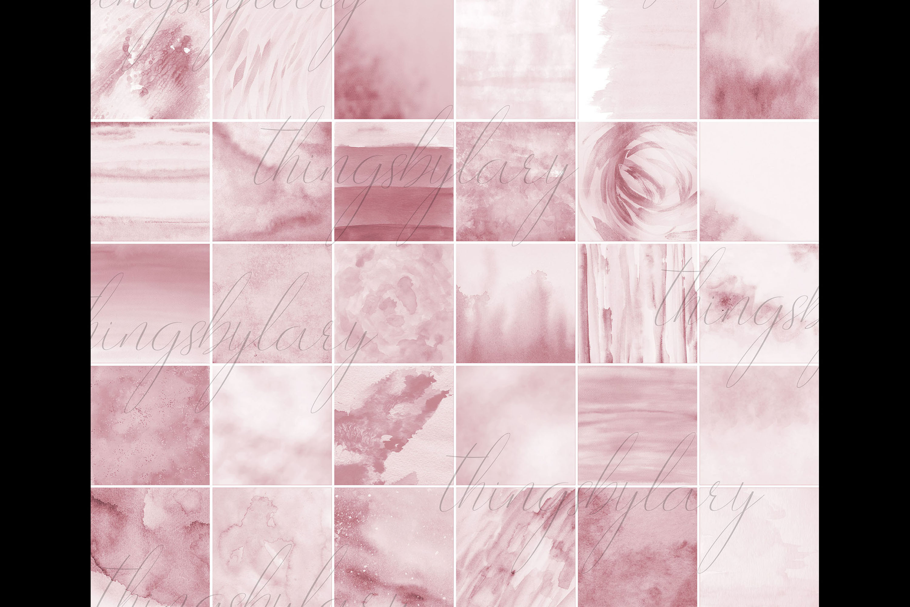 30 Ombre Rosegold Painted Brush Watercolor Digital Papers example image 10