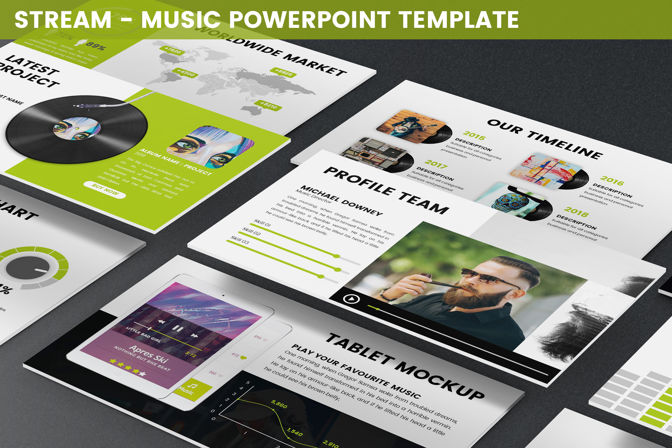 Stream - Music Powerpoint Template example image 1