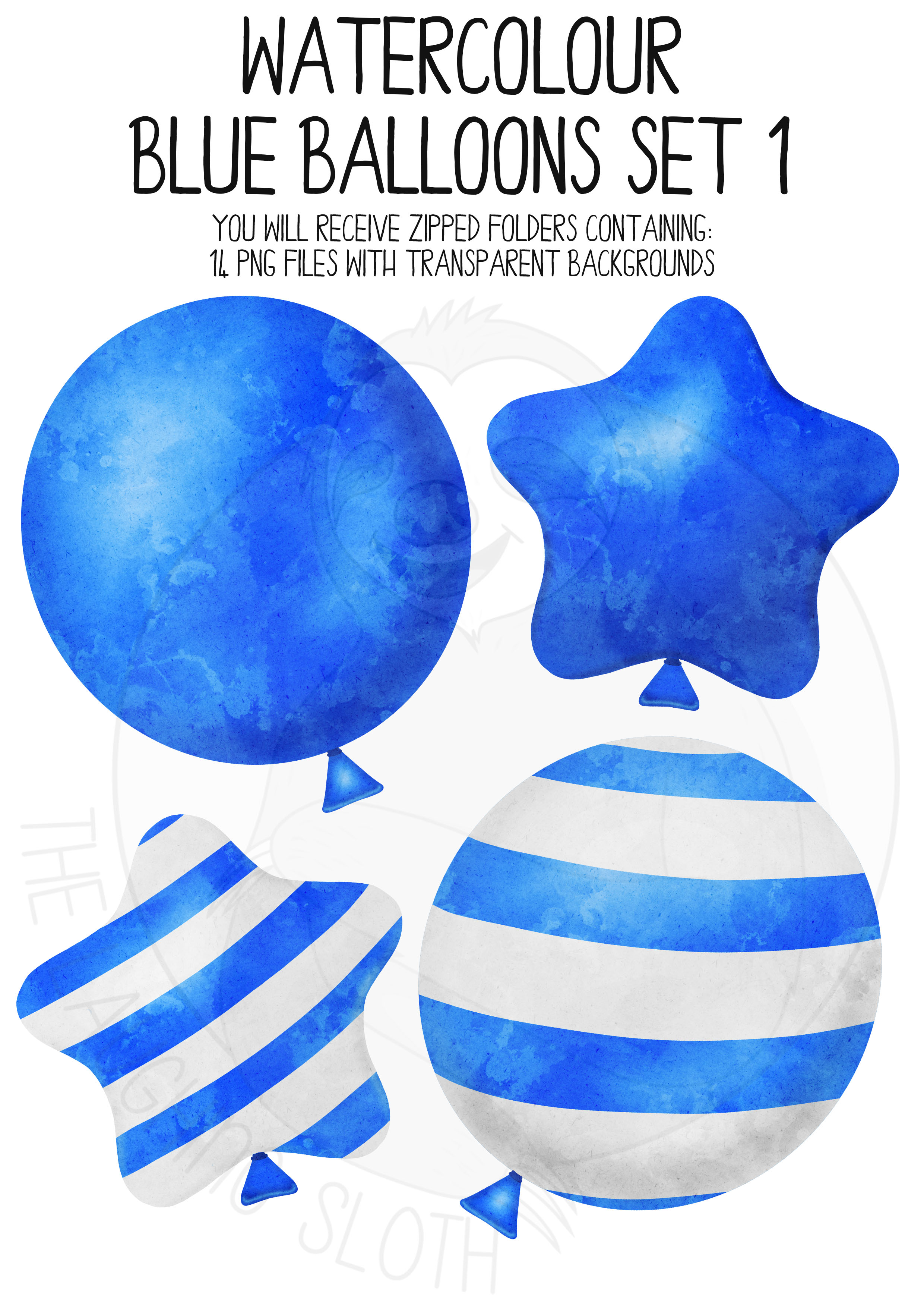 Blue Watercolor Balloon Clipart Set example image 3