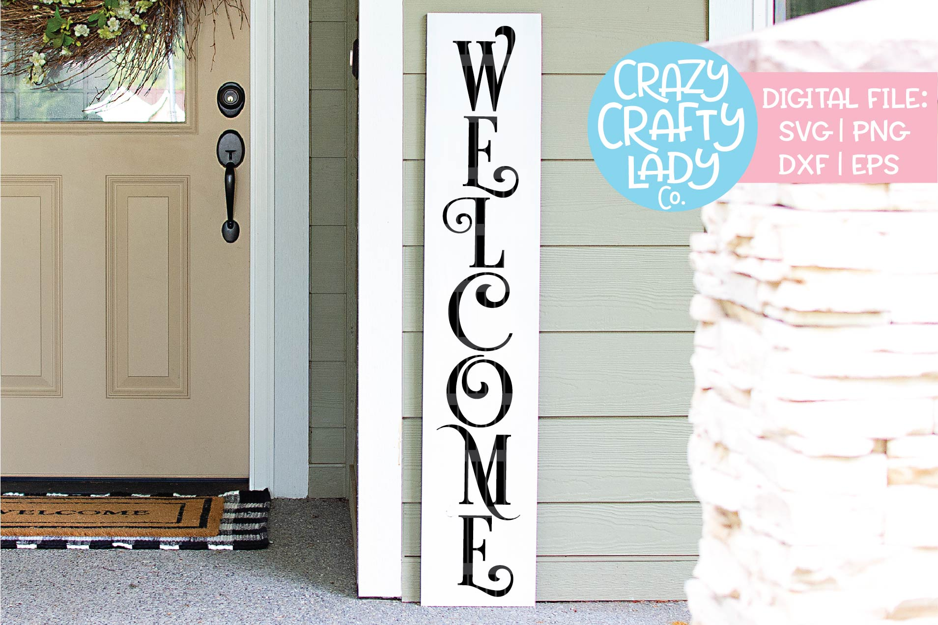 Welcome Porch Sign SVG DXF EPS PNG Cut File Bundle example image 3