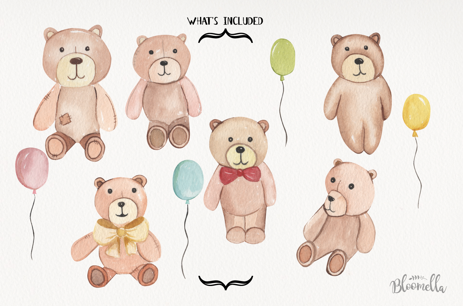 Teddy Bear Watercolor 10 Elements With Balloons Fun Bears example image 3