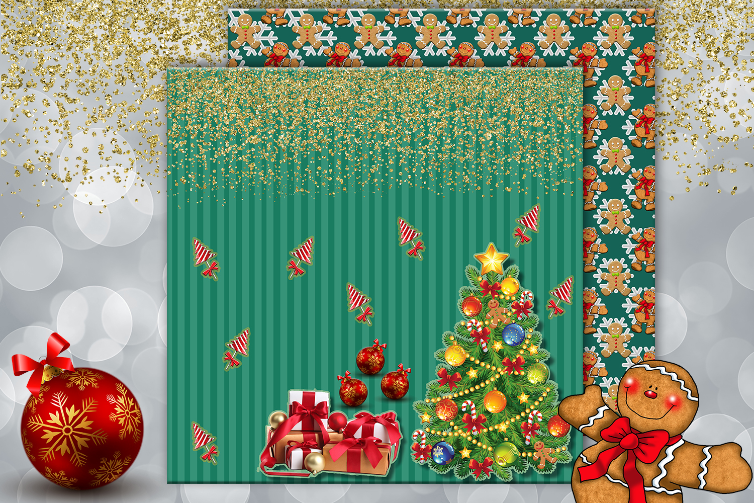 Christmas papers, jingle all the way, Scrapbook,BLACK FRIDAY example image 7