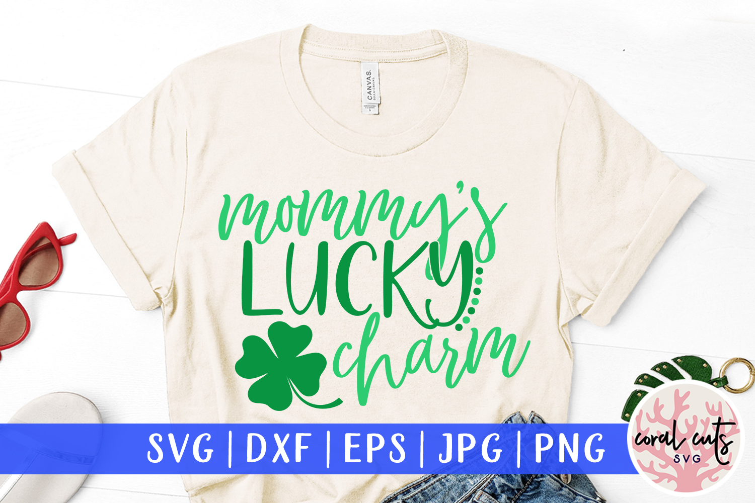 Mommy's lucky charm - St. Patrick's Day SVG EPS DXF PNG example image 1
