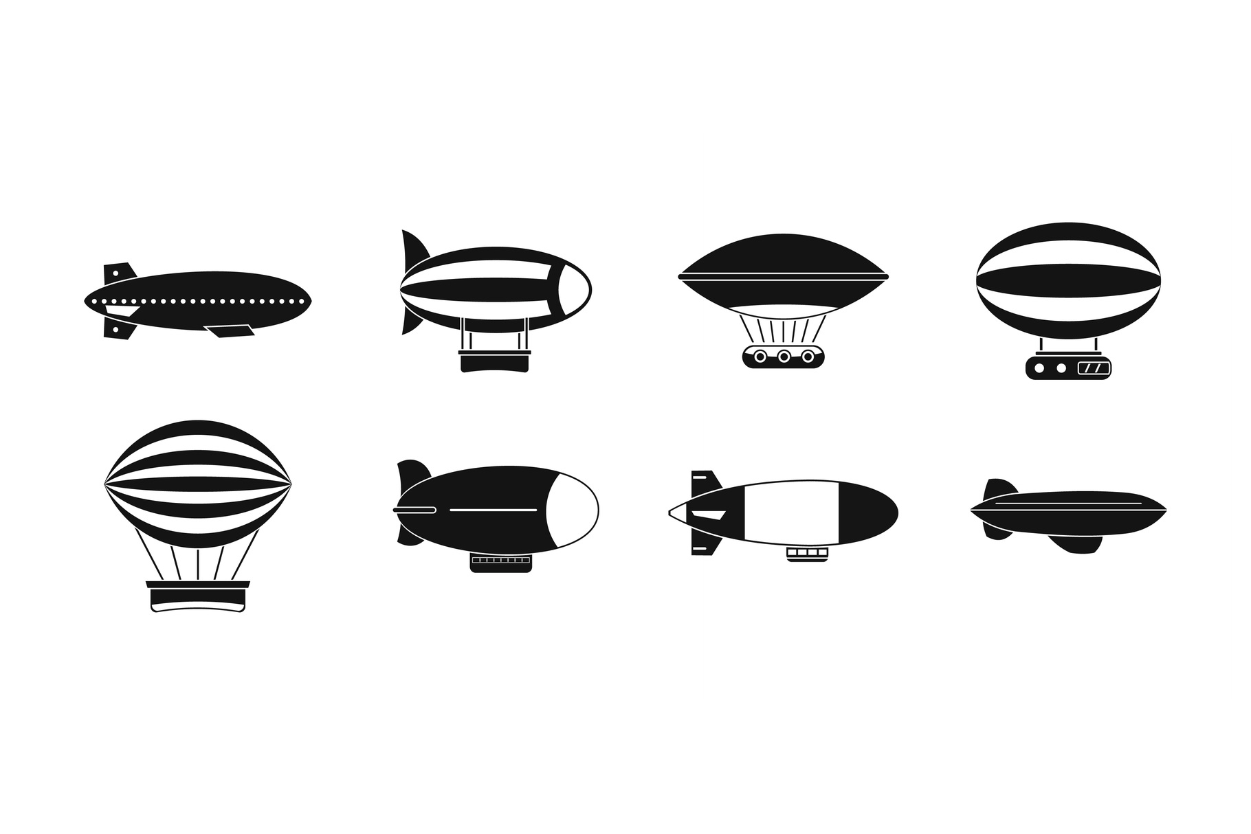 Air ship icon set, simple style example image 1