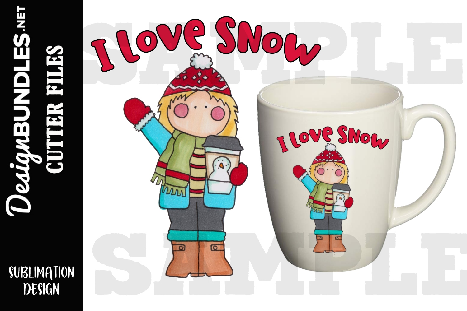 I Love Snow Sublimation Design example image 1