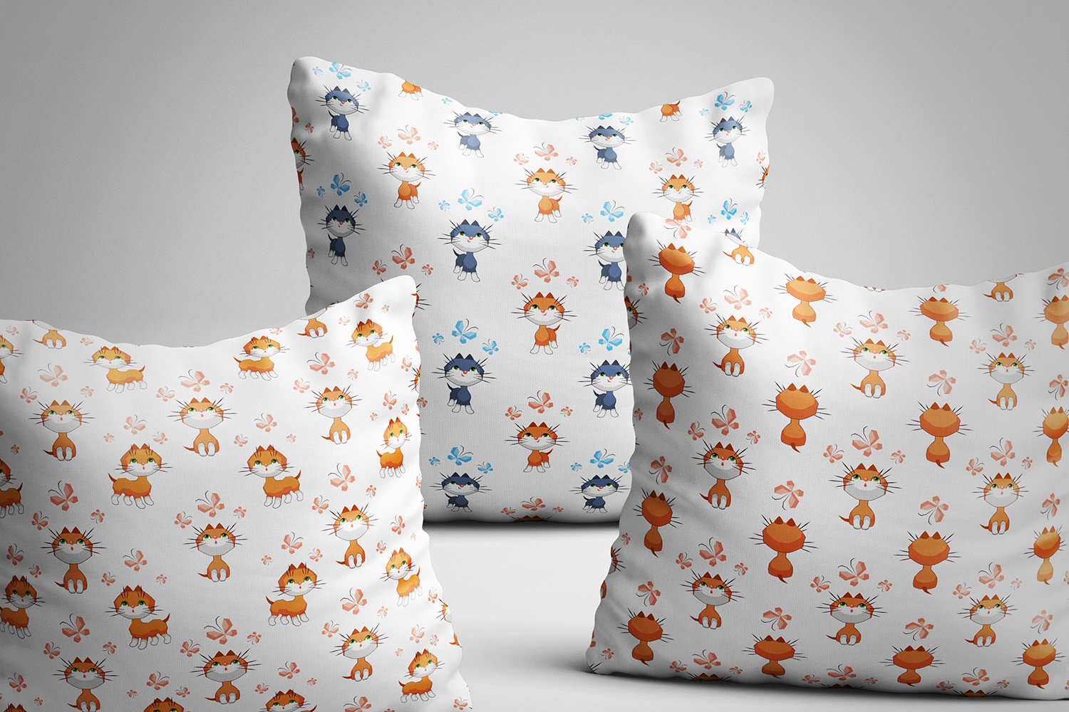 Little kittens. Seamless patterns example image 3
