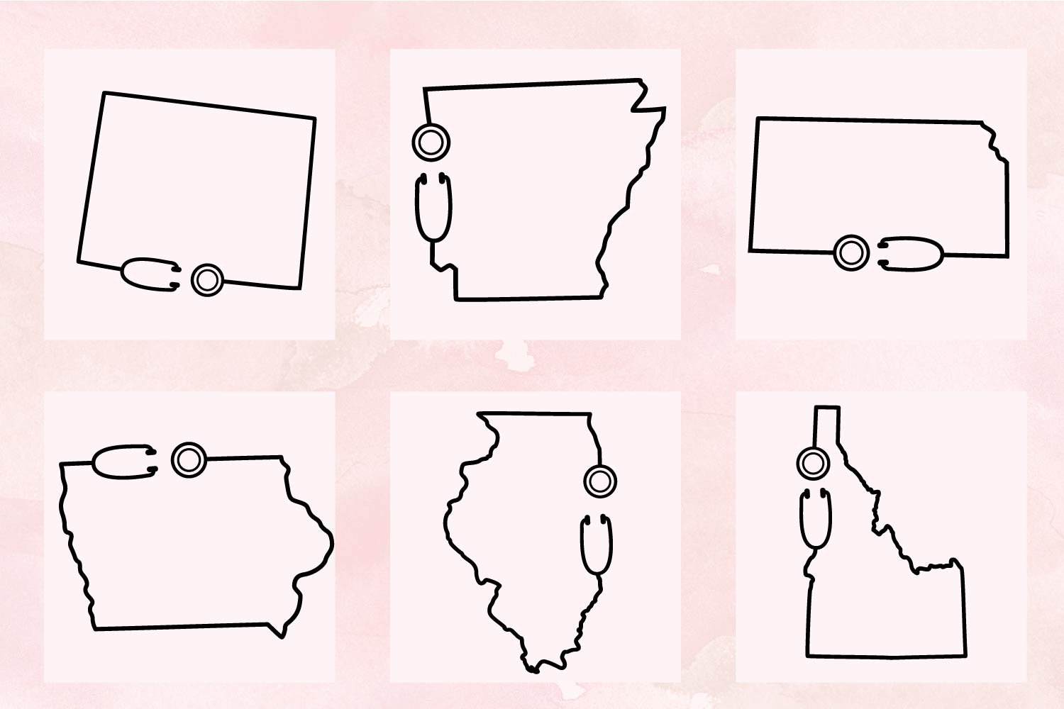 Nurse States - A Stethoscope Outlined State Bundle example image 8