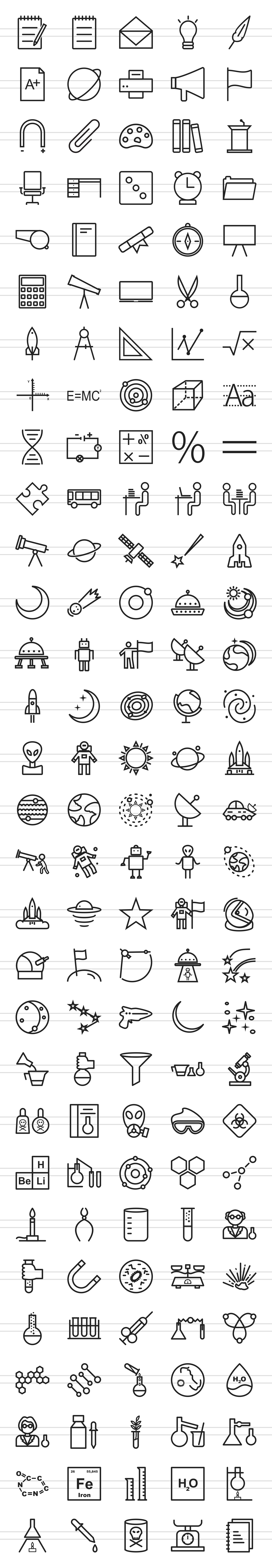 150 Science Line Icons example image 2