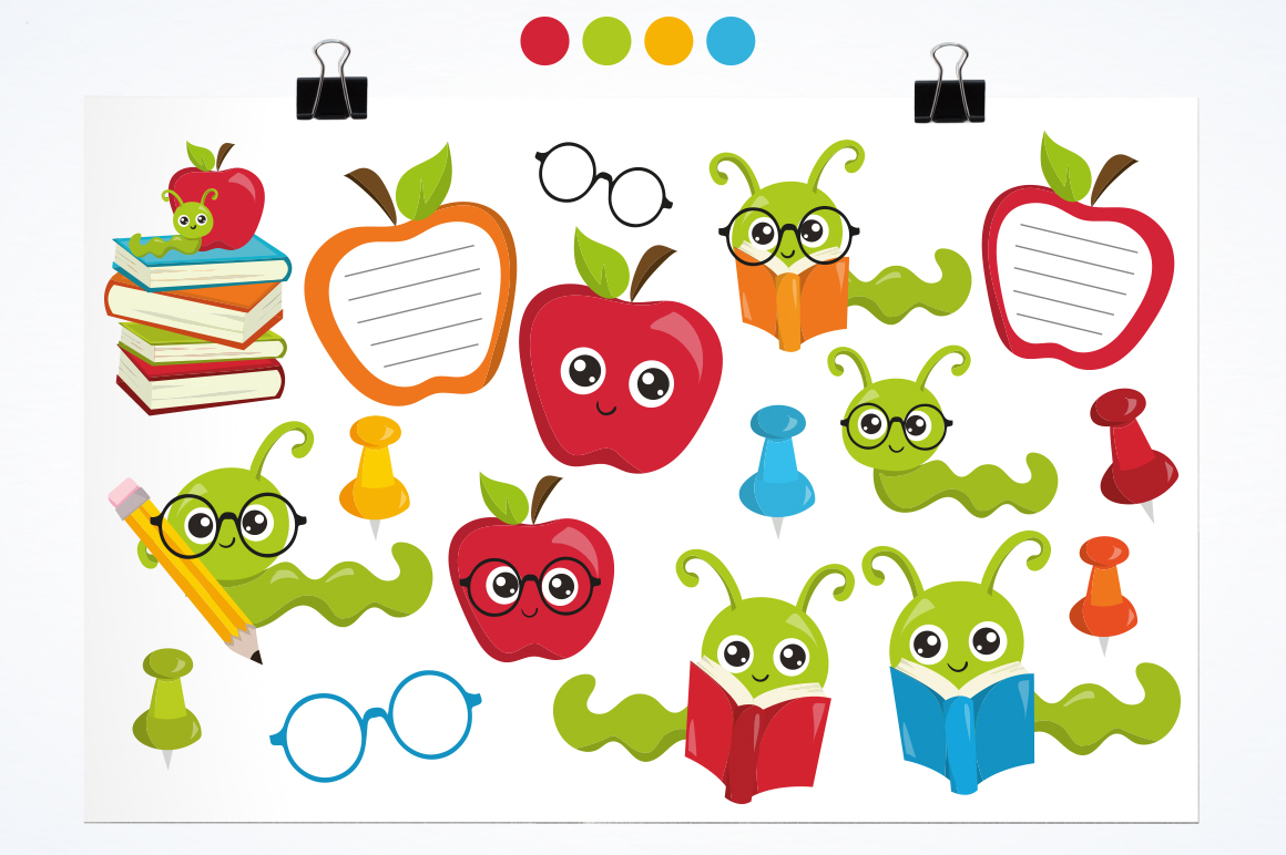 Apple Bookworm graphic and illustrations example image 3