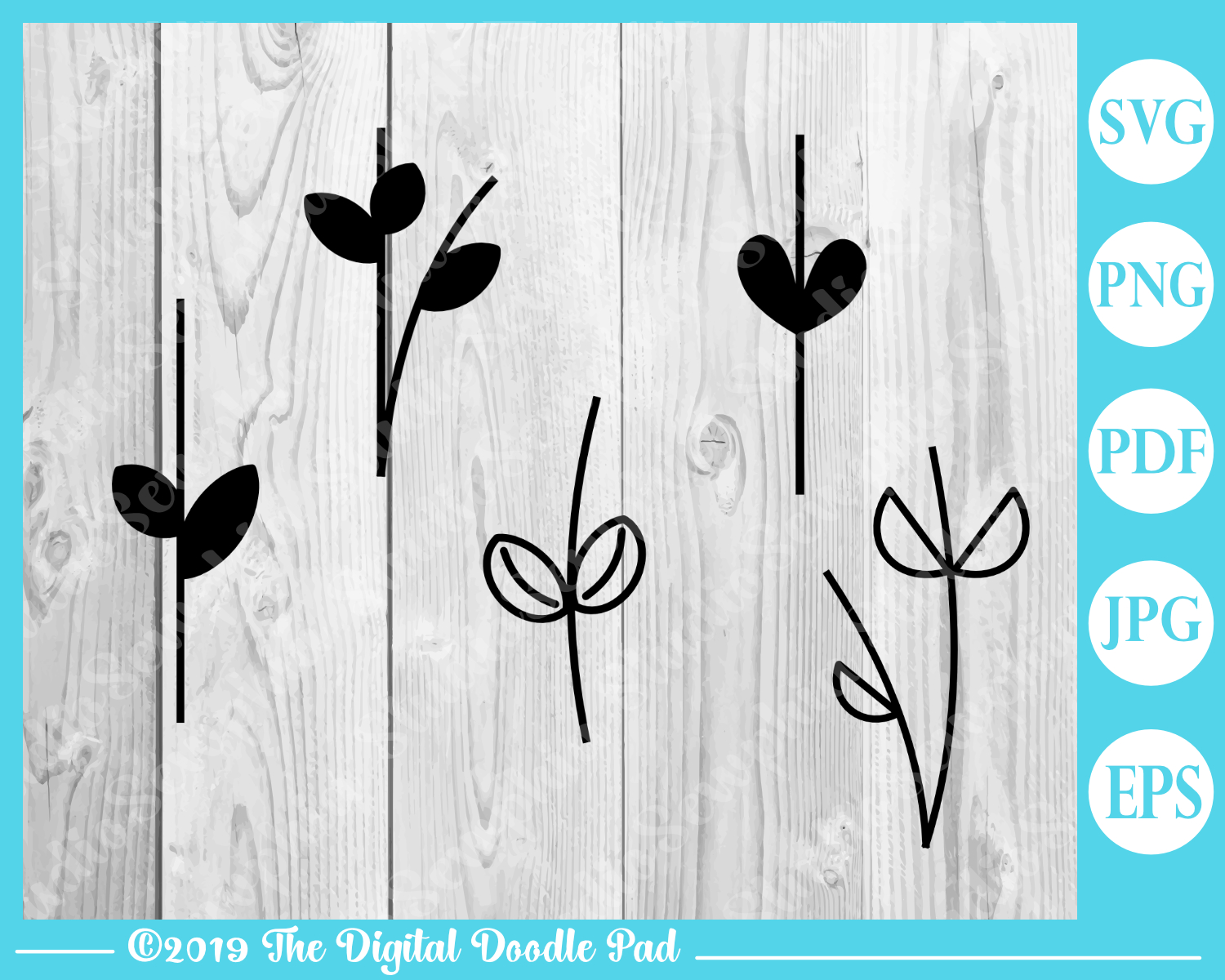 Flower and Stem Templates by Digital Doodle Pad example image 3
